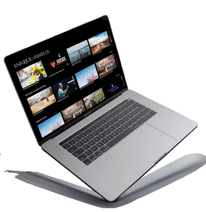 Laptop con los cursos de enfoque a la familia
